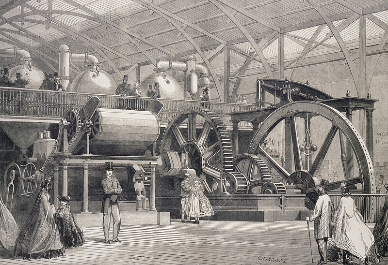 Sugar mill machinery, historical artwork