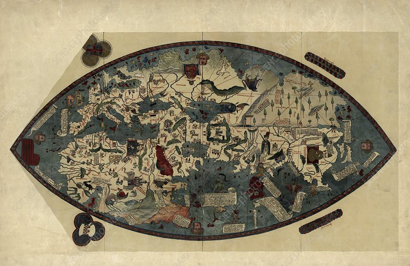 World Map Of Europe And Asia. Genoese world map, 1450