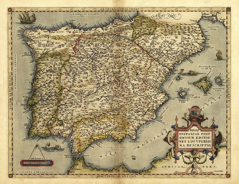Ortelius's map of Iberian Peninsula, 1570