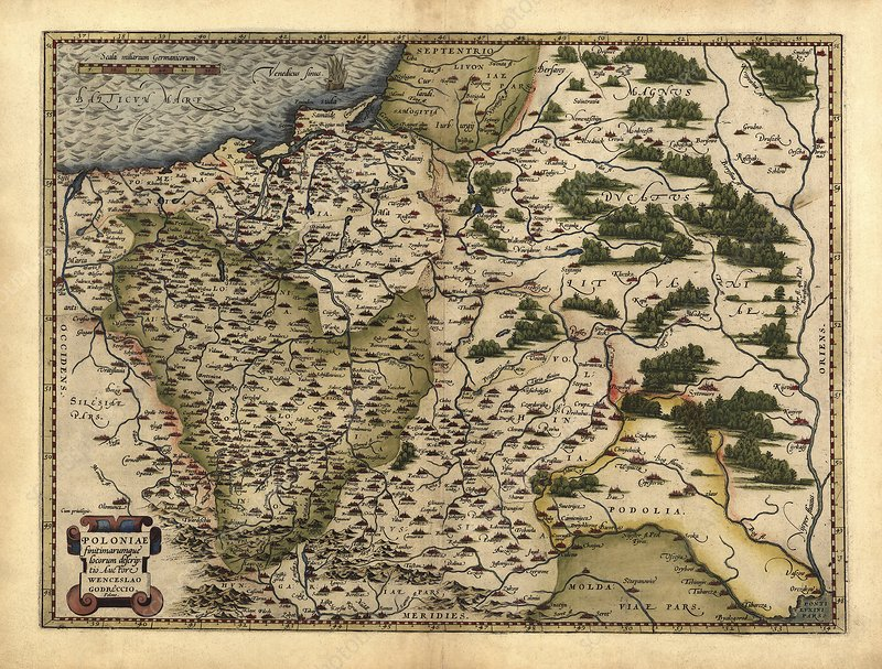 Ortelius's map of Poland, 1570