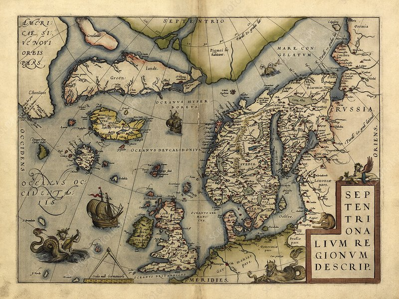 Ortelius's map of Northern Europe, 1570