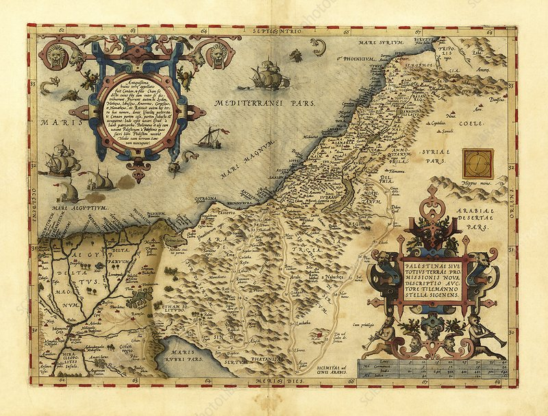 Ortelius's map of Palestine, 1570