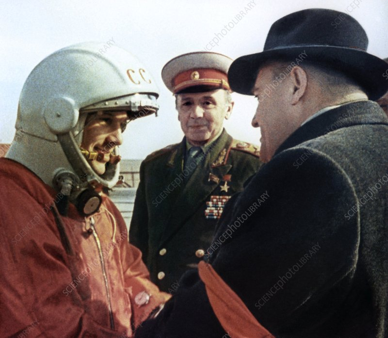 Gagarin and Korolev before launch, 1961