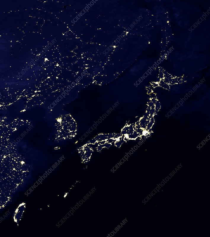 Japan at night, satellite image