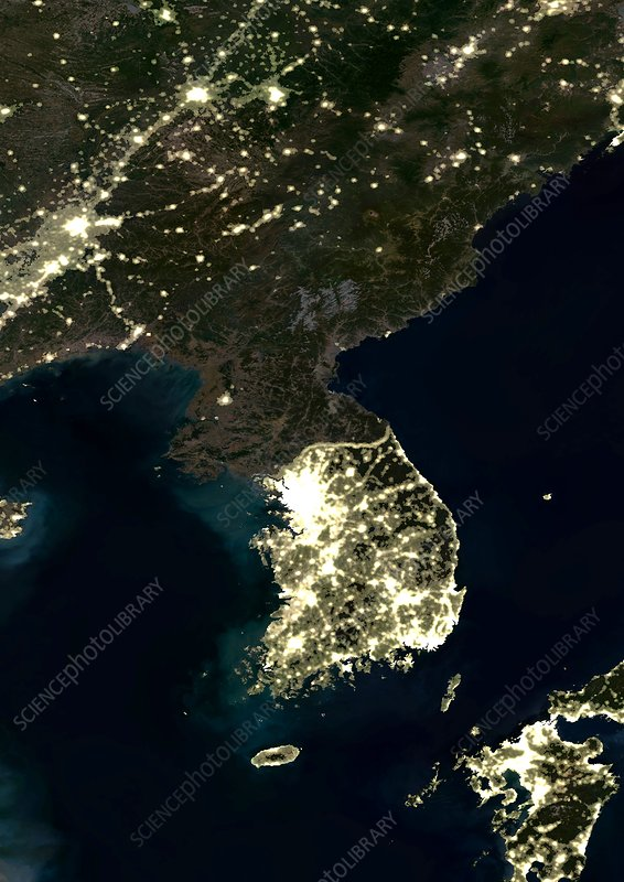 Korea at night, satellite image