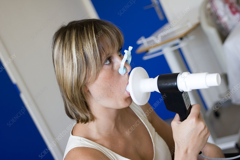 Breathing, spirometry in a woman
