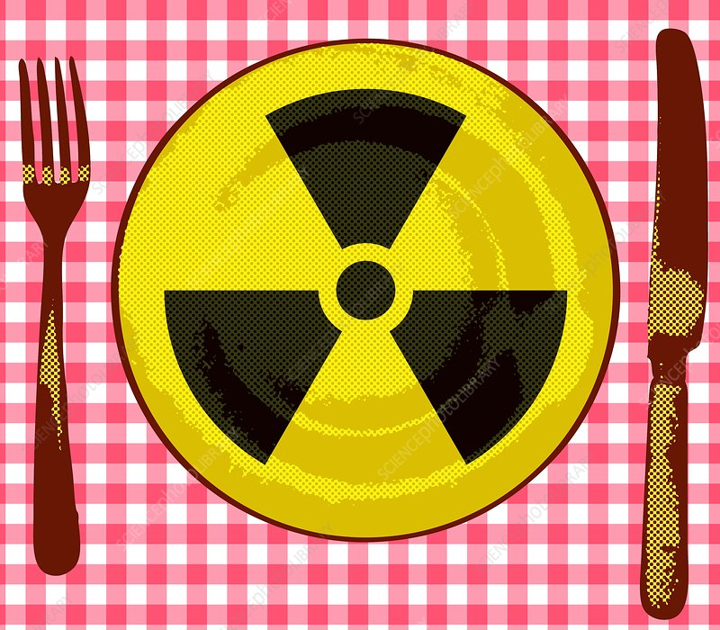 Radiation in food, conceptual image