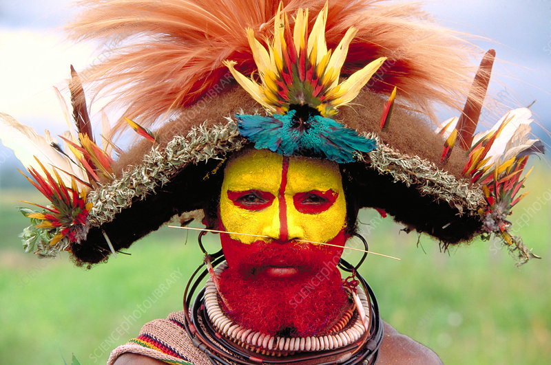 Man of the Huli tribe. Papua, New Guinea