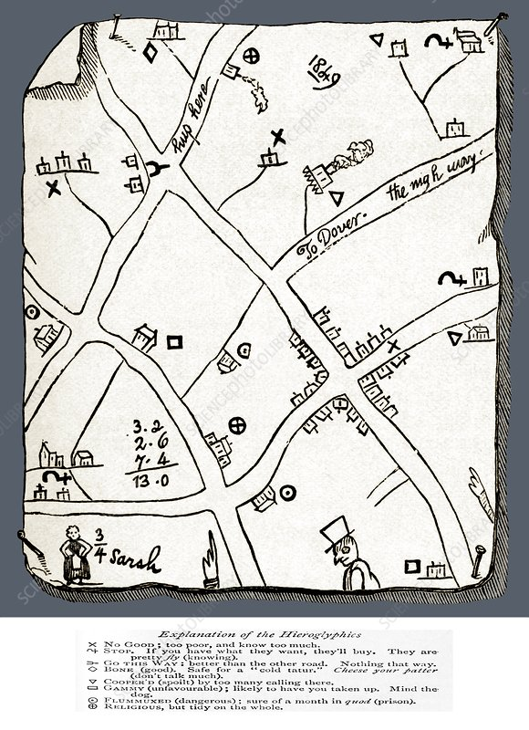 Begging map, 1869