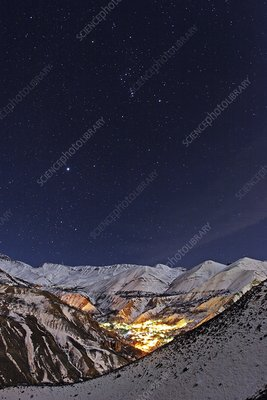 Night sky over a mountain village, Iran