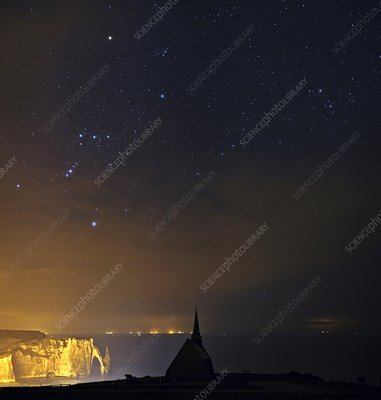 Night sky over the Normandy coast, France