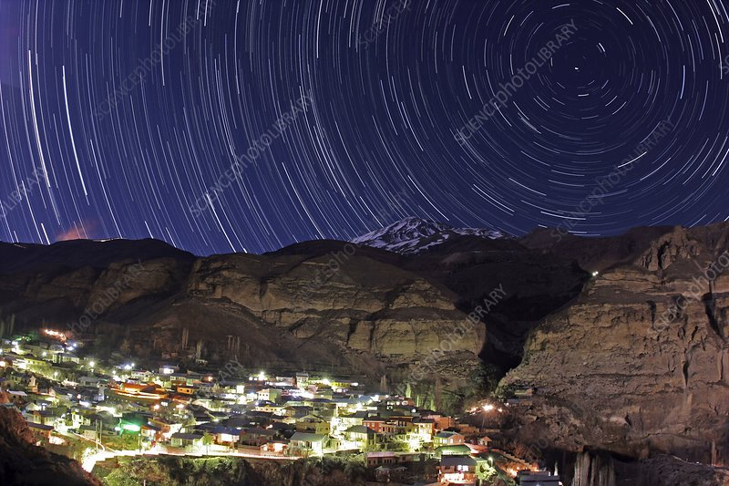 Star trails over a mountain village, Iran