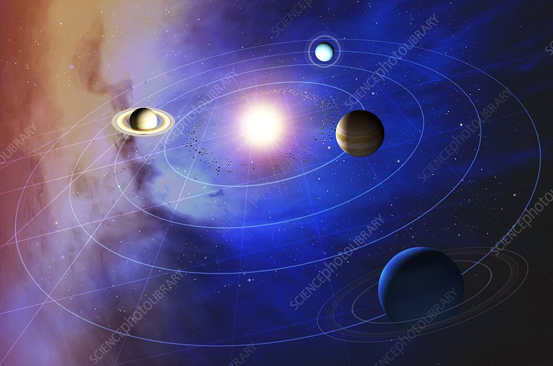 Outer solar system planets, artwork
