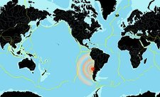 Chile 2010 earthquake, world map
