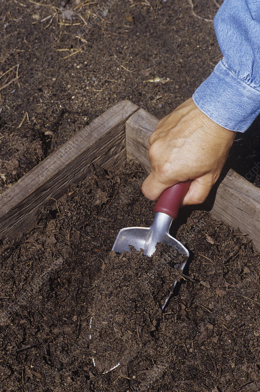 Trowel made from compost, grass, leaves