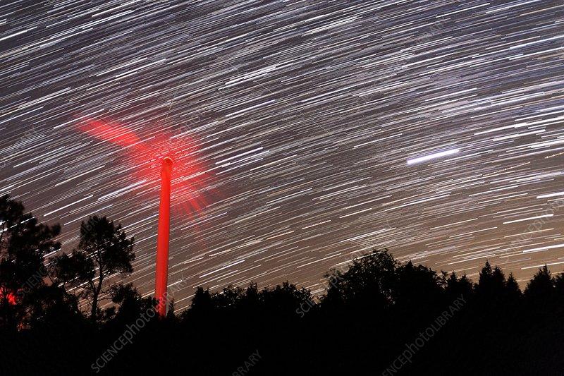 Wind turbine under star trails