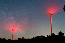 Wind turbines under the Milky Way