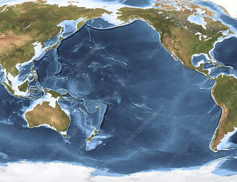 Pacific Ocean Topographic Map.Pacific Ocean Sea Floor Topography Stock Image C005 3527