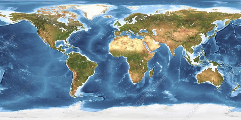 Topographic Map Of Ocean Floor.World Land Cover And Sea Floor Topography Stock Image C005 3528