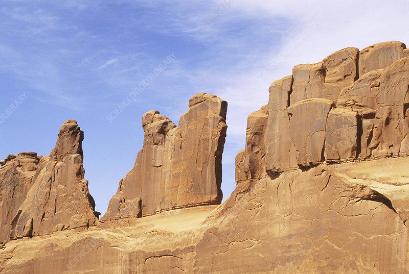 Tall, thin Sandstone fins