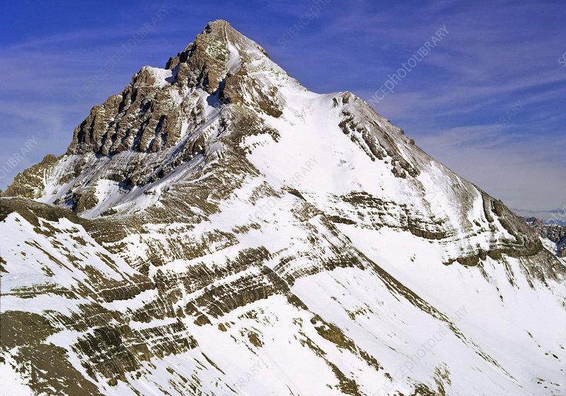 Mt. Blanc, peak, horn, strata, Alps