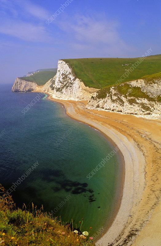White chalk cliffs and coastal erosion