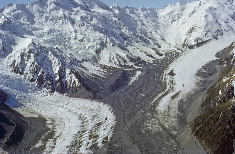 Aerial view of the Tasman Glacier