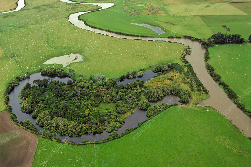 Aerial view of an oxbow lake