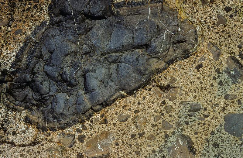 Pillow lava with volcanic breccia