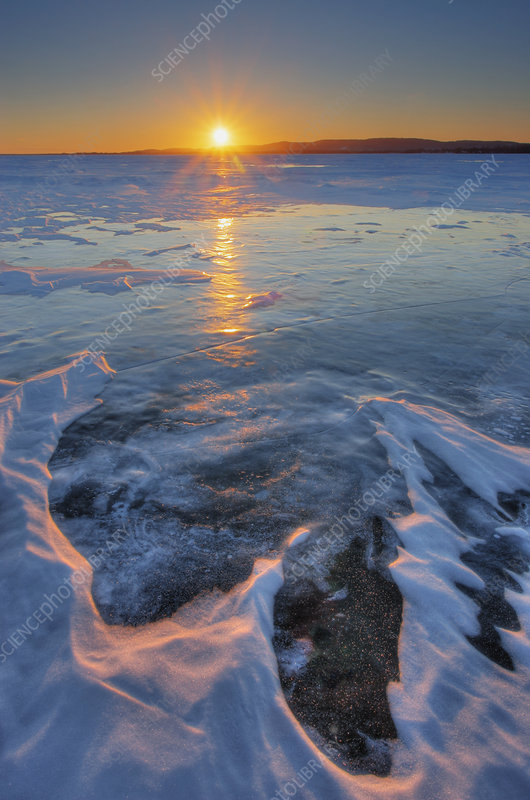 Sunset over a winter lake