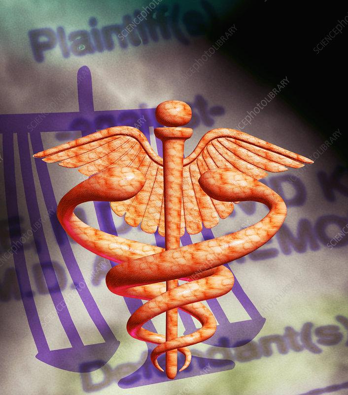 Medical and legal malpractice symbols