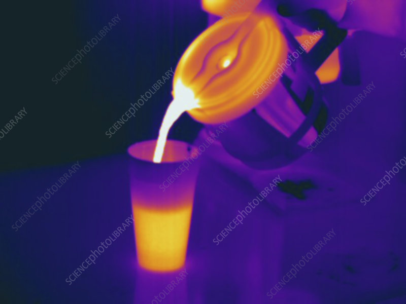 Thermogram, pouring hot coffee into cup