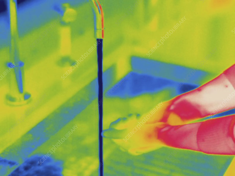 Thermogram, washing hands with cold water