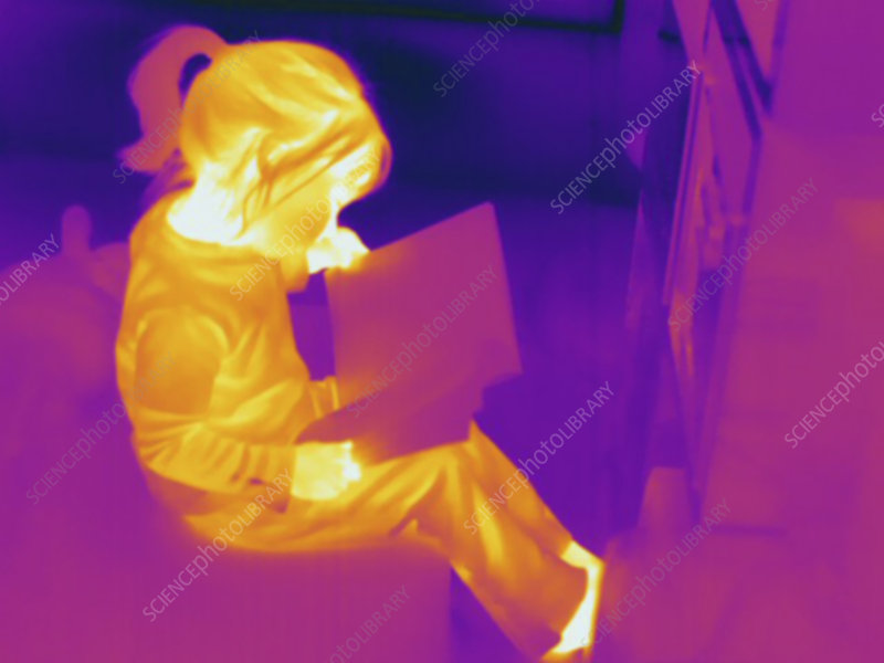 Thermogram, Child reading, temp variation