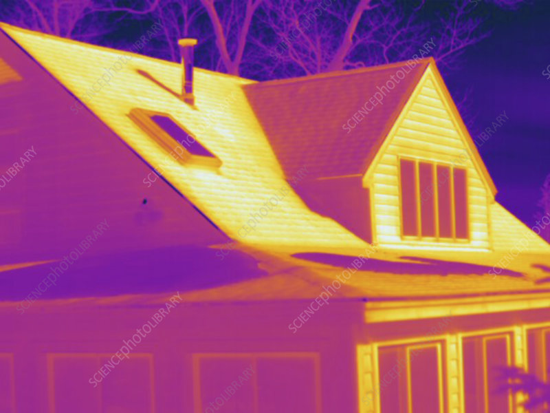 Thermogram, outside of house, cold day