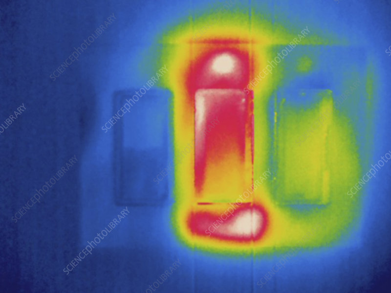 Thermogram of electrical light switches