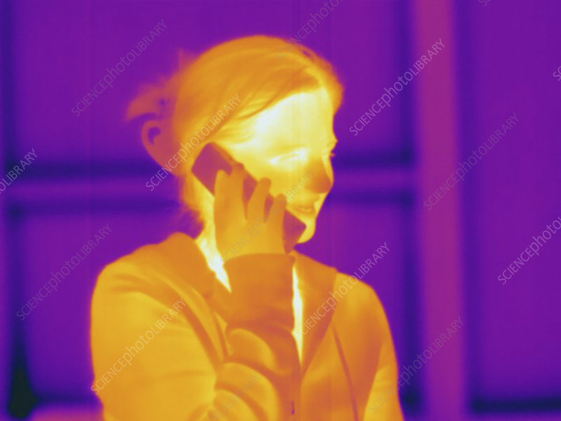 Thermogram of a female using a phone