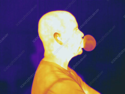 Thermogram showing a man blowing a bubble