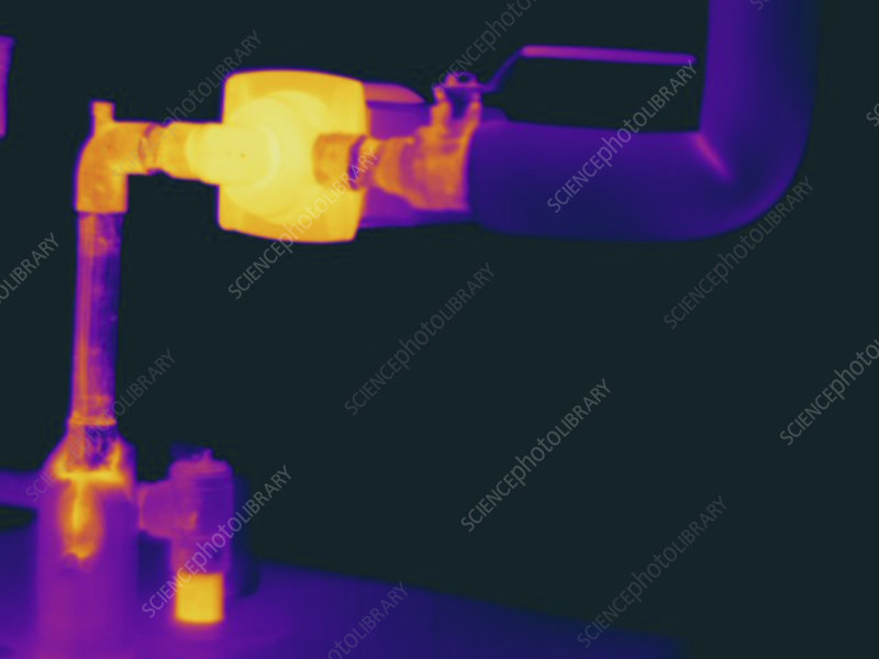 Thermogram of hot water pipes