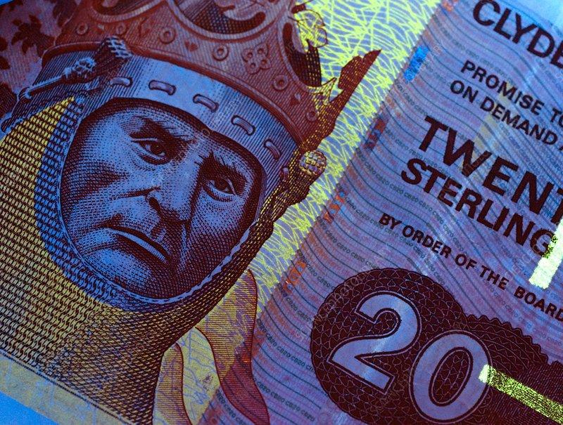 Twenty pound Scottish banknote in UV