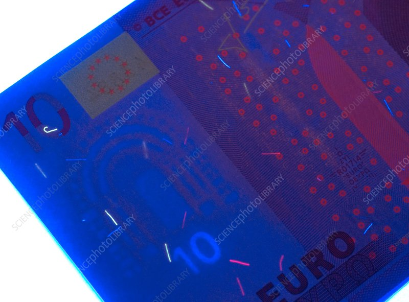 Euro banknote in UV light