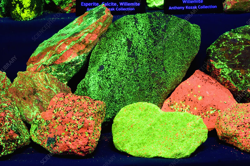 Mixture of fluorescent rocks and minerals