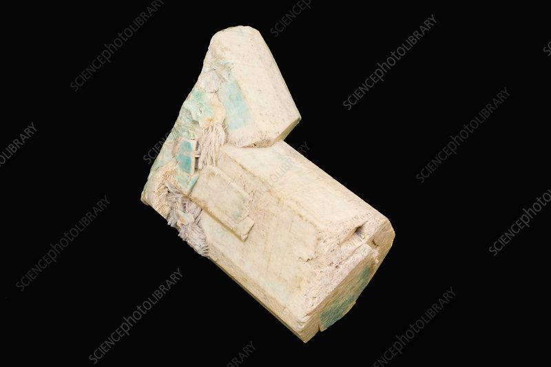 Gypsum Satin Spar ~ Striate gypsum satin spar variety stock image c