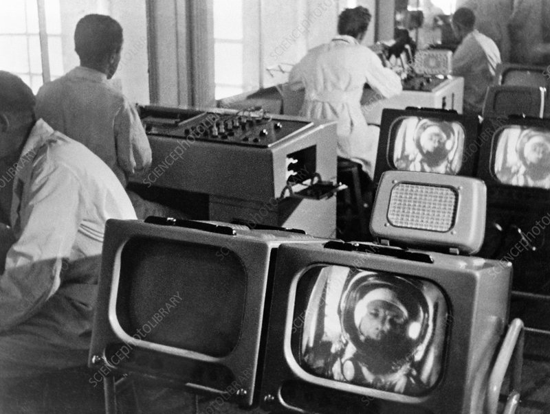 Controllers watch Gagarin in orbit, 1961