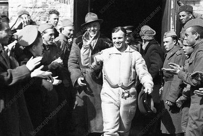 Gagarin celebration after landing, 1961