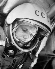 Gagarin during Vostok 1 mission, 1961