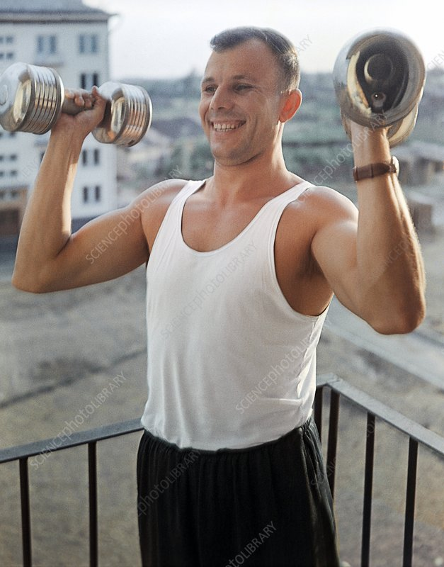 Gagarin doing morning exercises, 1963