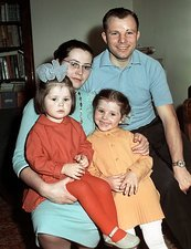 Gagarin with his wife and daughters, 1963