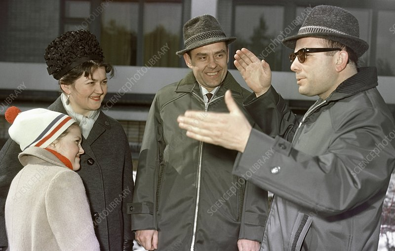 Komarov and family with Gagarin, 1965