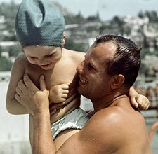 Gagarin and daughter at the beach, 1964